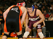 Mike Kiripolsky and Alex Steciuk wrestle at the 160 weight class during the NY State Wrestling Championships at Blue Cross Arena on March 8, 2008 in Rochester, New York.  (Copyright Mike Janes Photography)