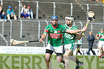 Jack Goulding (Ballyduff) in action with Diarmuid McKenna (Crotta) in the Garvey's SuperValu Senior Hurling Championship 2014 Quarter Finals at Austin Stack Park, Tralee on Saturday.