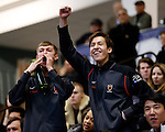 25 MAR 2016:  Princeton'fencing fans cheer on their team during the finals of the women's foil event at the Division I Women's Fencing Championship is held at the Gosman Sports and Convention Center in Waltham, MA.   Damian Strohmeyer/NCAA Photos