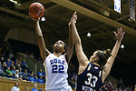 01 February 2016: Duke's Oderah Chidom (22) and Notre Dame's Kathryn Westbeld (33). The Duke University Blue Devils hosted the University of Notre Dame Fighting Irish at Cameron Indoor Stadium in Durham, North Carolina in a 2015-16 NCAA Division I Women's Basketball game. Notre Dame won the game 68-61.