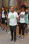 "Fashion designer Ricardo Seco (center) poses with models at his Ricardo Seco Spring Summer 2019 ""Vision"" collection fashion presentation in Flying Solo, in New York City, on July 9, 2018; during New York Fashion Week: Men's Spring Summer 2019."