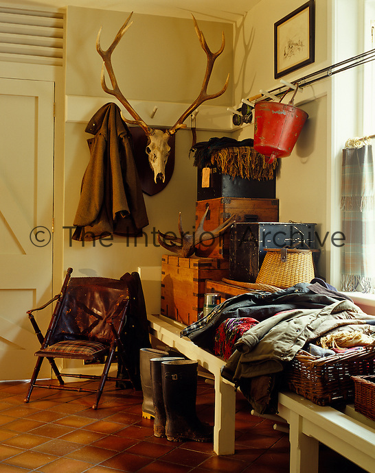 A set of antlers hangs on the wall of the cloakroom amidst a clutter of boots and outdoor clothing