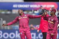 Sheldon Cottrell (West Indies) celebrates the wicket of Martin Guptill during West Indies vs New Zealand, ICC World Cup Warm-Up Match Cricket at the Bristol County Ground on 28th May 2019