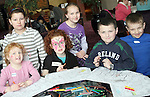 Vanessa O'Brien, Sophie Butler, Kate Butler, Katie O'Brien, Calvin O'Brien and Kiefer O'Brien take part in the colouring competition at the Coffee Morning Fundraiser in aid of Trocaire organised by Inse Bay Residents...Photo NEWSFILE/Jenny Matthews.(Photo credit should read Jenny Matthews/NEWSFILE)....This Picture has been sent you under the condtions enclosed by:.Newsfile Ltd..The Studio,.Millmount Abbey,.Drogheda,.Co Meath..Ireland..Tel: +353(0)41-9871240.Fax: +353(0)41-9871260.GSM: +353(0)86-2500958.email: pictures@newsfile.ie.www.newsfile.ie.FTP: 193.120.102.198.