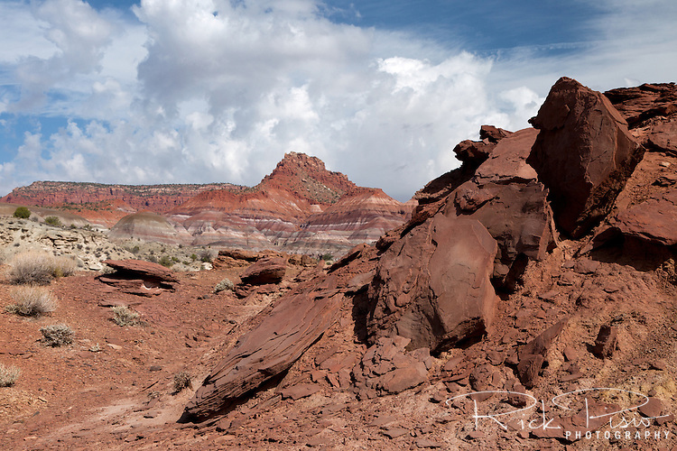 Calico Peak and the Vermilion Cliffs as seen from the Paria River Valley at the southern boundary of the Grand Staircase Escalante National Monument in southwest Utah.