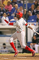 April 10th 2009:  Right Fielder Domonic Brown (3) of the Clearwater Threshers, Florida State League Class-A affiliate of the Philadelphia Phillies, during a game at Dunedin Stadium in Dunedin, FL.  Photo by:  Mike Janes/Four Seam Images