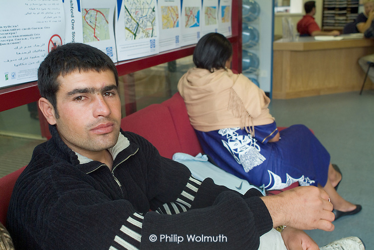 Newly arrived Iraqi Kurdish refugees await interview at the Migrant Helpline Induction Centre in Dover. The interview determines elegibility for housing and financial support by the National Asylum Support Service (NASS).