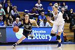 13 November 2016: Penn's Kasey Chambers (12) and Duke's Erin Mathias (35). The Duke University Blue Devils hosted the University of Pennsylvania Quakers at Cameron Indoor Stadium in Durham, North Carolina in a 2016-17 NCAA Division I Women's Basketball game. Duke defeated Penn 68-55.