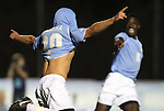 10 November 2010: UNC's Martin Murphy (20) celebrates his goal with teammate Jalil Anibaba (5). The University of North Carolina Tar Heels the North Carolina State University Wolfpack at Koka Booth Stadium at WakeMed Soccer Park in Cary, North Carolina in an ACC Men's Soccer Tournament Quarterfinal game.