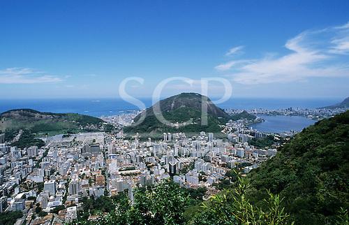 Rio de Janeiro, Brazil. View from below the Christ Statue over Flamengo and Lagoa Rodrigo de Freitas to Guanabara Bay.
