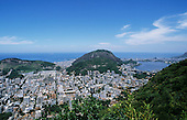 Rio de Janeiro, Brazil. View from below the Christ Statue over Flamengo and Lagoa Rodrigo de Freitas to Guanabara Bay.