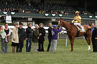 Wise Dan and jockey John Velazquez win the 82nd running of the Ben Ali Grade 3 $150,000 at Keeneland in record time of 1:46.36 for the 1 1/8 mile race.  April 22, 2012.