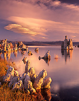 Sunrise on Mono Lake with tufa and clouds. California.