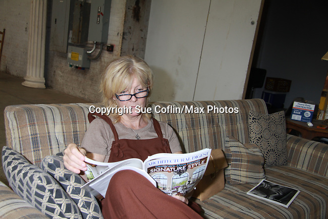 Elllen Dolan relaxes before she shoots e The Series films on set June 3, 2012  in Brooklyn, New York. (Photo by Sue Coflin/Max Photos)