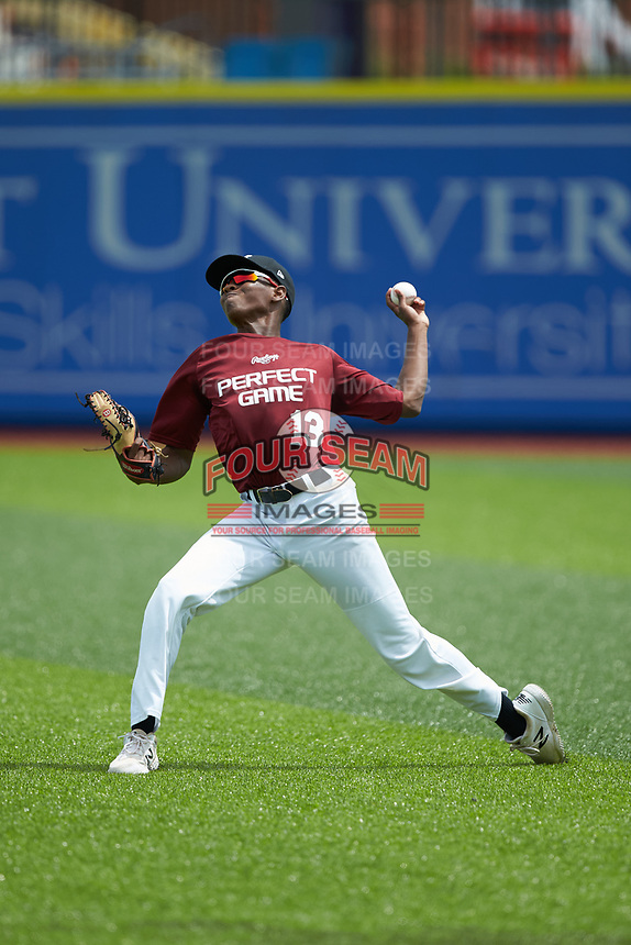 Right fielder Myles Crocker (13) of Reynolds High School in Winston-Salem, NC throws the ball back to the infield during the Atlantic Coast Prospect Showcase hosted by Perfect Game at Truist Point on August 23, 2020 in High Point, NC. (Brian Westerholt/Four Seam Images)