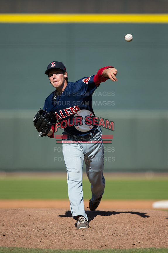 Salem Red Sox relief pitcher Jake Drehoff (39) in action against the Winston-Salem Dash at BB&T Ballpark on April 17, 2016 in Winston-Salem, North Carolina.  The Red Sox defeated the Dash 3-1.  (Brian Westerholt/Four Seam Images)