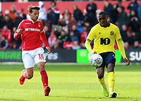 Blackburn Rovers' Amari'i Bell gets away from Nottingham Forest's Joao Carvalho<br /> <br /> Photographer David Shipman/CameraSport<br /> <br /> The EFL Sky Bet Championship - Nottingham Forest v Blackburn Rovers - Saturday 13th April 2019 - The City Ground - Nottingham<br /> <br /> World Copyright © 2019 CameraSport. All rights reserved. 43 Linden Ave. Countesthorpe. Leicester. England. LE8 5PG - Tel: +44 (0) 116 277 4147 - admin@camerasport.com - www.camerasport.com