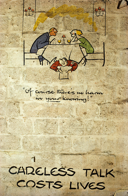 Wartime poster by cartoonist Fougasse, Cyril Kenneth Bird, in disused underground station. King William Street, London. UK