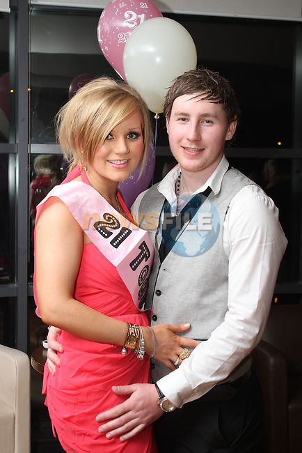Lorna Campbell with her boyfriend Paul Moore at her 21st in Bru...(Photo credit should read Jenny Matthews/www.newsfile.ie)....This Picture has been sent you under the conditions enclosed by:.Newsfile Ltd..The Studio,.Millmount Abbey,.Drogheda,.Co Meath..Ireland..Tel: +353(0)41-9871240.Fax: +353(0)41-9871260.GSM: +353(0)86-2500958.email: pictures@newsfile.ie.www.newsfile.ie.