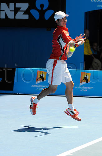 25.01.2012 Melbourne, Australia. Nishikori in action on Day 10 of the men's quarter final match. Andy Murray (GBR) V Kei Nishikori (JPN) on Rod Laver Arena at the Australian Open.
