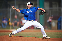 Illinois College Blueboys relief pitcher Beau Parkevich (16) delivers a pitch during a game against the Edgewood Eagles on March 14, 2017 at Terry Park in Fort Myers, Florida.  Edgewood defeated Illinois College 11-2.  (Mike Janes/Four Seam Images)