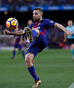 7th January 2018, Camp Nou, Barcelona, Spain; La Liga football, Barcelona versus Levante; Jordi Alba of FC Barcelona clears the ball up the line
