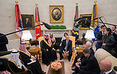 President Donald Trump meets Crown Prince Mohammed bin Salman of the Kingdom of Saudi Arabia in the Oval Office at the White House on March 20, 2018 in Washington, D.C. <br /> Credit: Kevin Dietsch / Pool via CNP