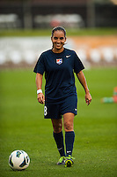 Sky Blue FC forward Monica Ocampo (8) during warmups prior to playing FC Kansas City. Sky Blue FC and FC Kansas City played to a 2-2 tie during a National Women's Soccer League (NWSL) match at Yurcak Field in Piscataway, NJ, on June 26, 2013.