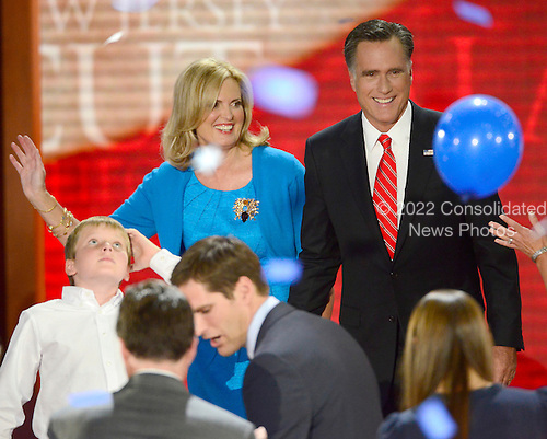 Mitt Romney, Republican nominee for President of the United States, and Ann Romney on the podium following his remarks at the 2012 Republican National Convention in Tampa Bay, Florida on Thursday, August 30, 2012.  .Credit: Ron Sachs / CNP.(RESTRICTION: NO New York or New Jersey Newspapers or newspapers within a 75 mile radius of New York City)