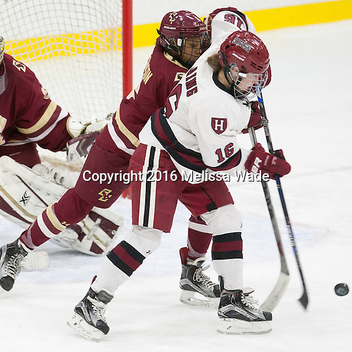 Kaliya Johnson (BC - 6), Lexie Laing (Harvard - 16) - The visiting Boston College Eagles defeated the Harvard University Crimson 2-0 on Tuesday, January 19, 2016, at Bright-Landry Hockey Center in Boston, Massachusetts.