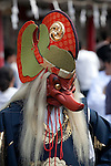 Tokyo, Japan - A man wears a mask of Japanese long-nosed goblin (Tengu) during the Sanja Matsuri in Asakusa district, May 19, 2013. The Sanja Matsuri is one of the Three Great Shinto Festivals in Tokyo and is held on the third weekend of May at Asakusa Temple. (Photo by Rodrigo Reyes Marin/AFLO)..
