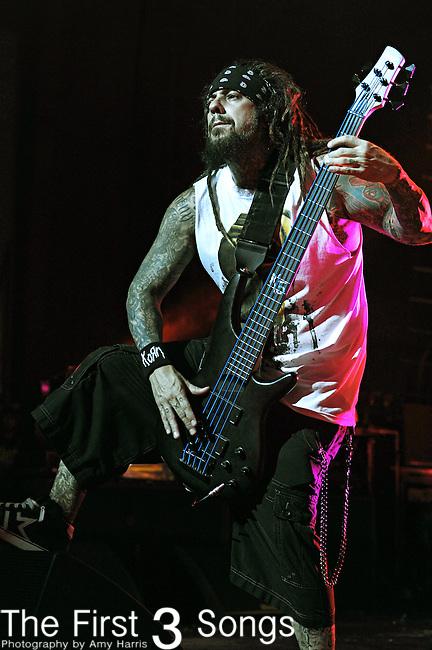 Reginald Arvizu of Korn performs at Mayhem Music Festival in Cincinnati, Ohio on July 21, 2010.