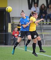 20161029 - ZWEVEZELE , BELGIUM : Zwevezele's Celine Vandekerckhove (R) and Club Brugge's Tine Blomme (L)  pictured during a soccer match between the women teams of KSK Zwevezele and Club Brugge  , during the seventh matchday in the 2016-2017  Tweede klasse - Second Division season, Saturday 29 October 2016 . PHOTO SPORTPIX.BE | DIRK VUYLSTEKE