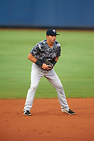 Tampa Yankees shortstop Angel Aguilar (14) during the second game of a doubleheader against the Charlotte Stone Crabs on July 18, 2017 at Charlotte Sports Park in Port Charlotte, Florida.  Charlotte defeated Tampa 2-1.  (Mike Janes/Four Seam Images)