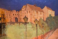 "Europe/Pologne/Lublin: Auberge ""Kawiarna Szeroska 28 "" ul Grodzka 21 mur peint représentant la vieille ville de Lublin"