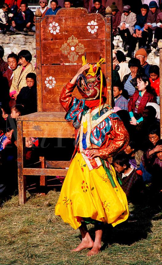 Mask dancer at Jampa Lhakang Drup in Bhutan.