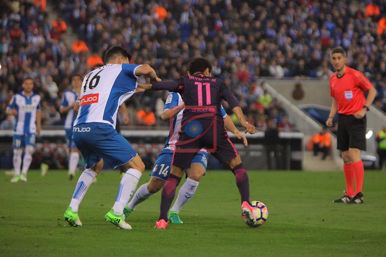 League Santander 2016/2017. Game: 35.<br /> RCD Espanyol vs FC Barcelona: 0-3.<br /> Javi  Lopez vs Neymar Jr.