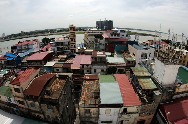 Phnom Penh skyline looking towards Tonle Sap river