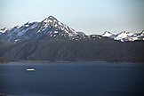 USA, Alaska, Homer, an elevated view of the Kachemak Bay with the Kenai mountains in the distance