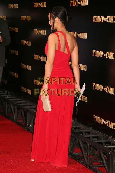 "APRIL CLARK.""Stomp The Yard"" Los Angeles Premiere at Arclight Cinemas, Hollywood, California, USA, 8 January 2007..full length one shoulder red dress back behind.CAP/ADM/BP.©Byron Purvis/AdMedia/Capital Pictures."