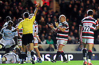 Dan Cole of Leicester Tigers celebrates as referee Marius Mitrea awards Leicester a penalty. European Rugby Champions Cup match, between Leicester Tigers and Racing 92 on October 23, 2016 at Welford Road in Leicester, England. Photo by: Patrick Khachfe / JMP