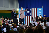 Annandale, VA - July 14, 2016: Democratic presidential candidate Hillary Clinton speaks at a campaign rally with U.S. Senator Tim Kaine at the Ernst Community Cultural Center on the grounds of the Northern Virginia Community College, July 14, 2016. Sen. Kaine is reportedly being considered as Clinton's vice presidential running mate.  (Photo by Don Baxter/Media Images International)
