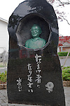 A bronze bust of  Shigeru Mizuki stands on a street named after the manga artist in his home town of Sakaiminato, Tottori Prefecture, Japan..Photographer: Robert Gilhooly