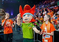 The Hague, The Netherlands, Februari 8, 2020,    Sportcampus, FedCup  Netherlands -  Balarus, Ace dancing with fans<br /> Photo: Tennisimages/Henk Koster