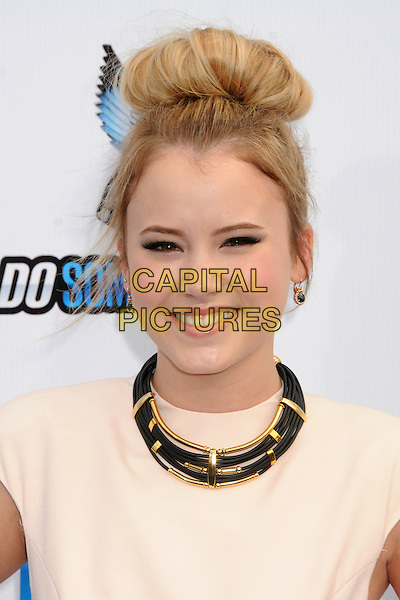 Taylor Spreitler.The 2012 Do Something Awards at the Barker Hangar in Santa Monica, California, USA..August 19th, 2012.headshot portrait necklace white pink black gold hair up bun.CAP/ADM/BP.©Byron Purvis/AdMedia/Capital Pictures.