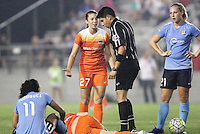 Piscataway, NJ - Saturday July 09, 2016: Caity Heap, Cuauhtemoc Delgadillo, Leah Galton during a regular season National Women's Soccer League (NWSL) match between Sky Blue FC and the Houston Dash at Yurcak Field.