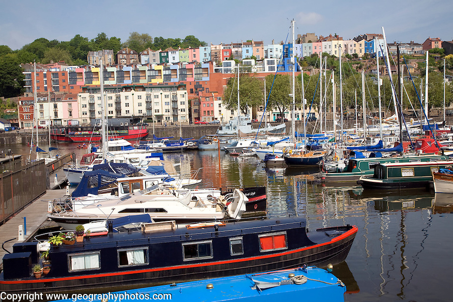 Marina with colourful houses on hillside Clifton, Hotwells, from Floating Harbour, Bristol