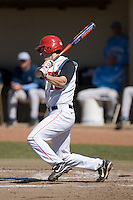 Jeff Grantham (12) of the St. John's Red Storm follows through on his swing versus the North Carolina Tar Heels at the 2008 Coca-Cola Classic at the Winthrop Ballpark in Rock Hill, SC, Sunday, March 2, 2008.