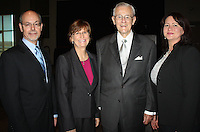NWA Democrat-Gazette/CARIN SCHOPPMEYER University of Arkansas system president Don and Susan Bobbit (from left), Charles Scharlau, Outstanding Philantropist and Pearl McElfish, associate vice-chancelor for the University of Arkansas Medical Sciences Northwest campus, gather at the AFP luncheon Wednesday.