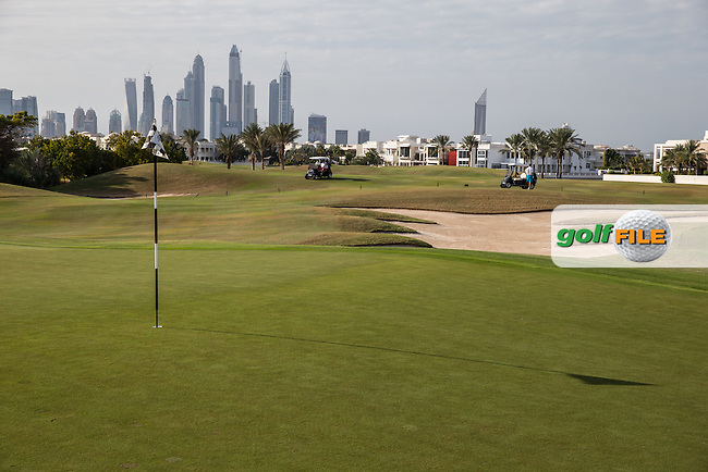 14th front bunker and green at The Address Montgomerie Golf Club, Dubai, United Arab Emirates.  27/01/2016. Picture: Golffile | David Lloyd<br /> <br /> All photos usage must carry mandatory copyright credit (&copy; Golffile | David Lloyd)